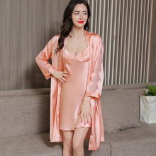 Fashionable Real Silk Sleepwear Female Summer Sexy Sling Nightdress Sleeping Robes Two-Piece Lace Womans Robe Sets P9950