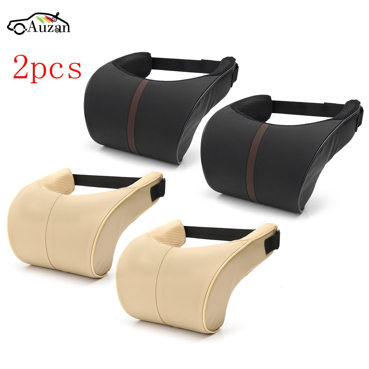 2x Car Seat Neck Pillow Pu Leather Ergonomic Seat Headrest