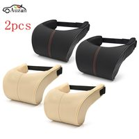 2x Car Seat Neck Pillow PU Leather Ergonomic Seat Headrest Pad Auto Car Neck Rest Memory