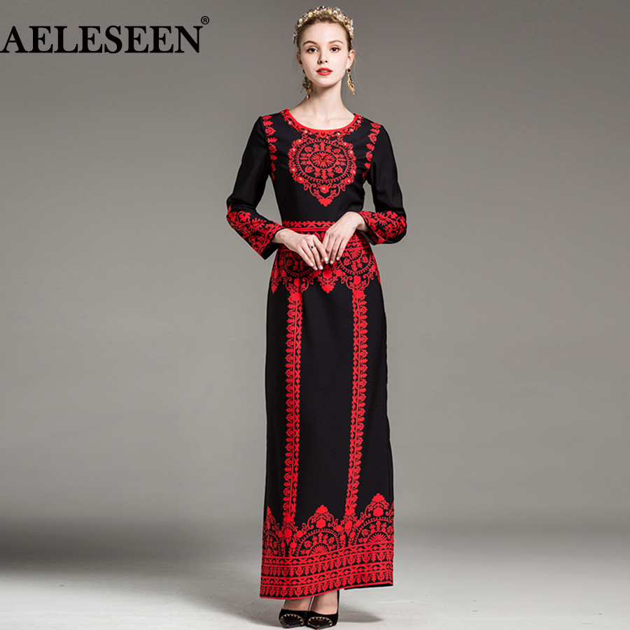 European Maxi Runway Dress 2018 New Vintage Fashion Full Sleeve Balck/Beige Contrast Color Print Ankle-Length Sexy Dress Women