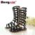 2017 niños femeninos sandalias zapatos de la princesa altos zapatos del recorte gladiador botas de bebé