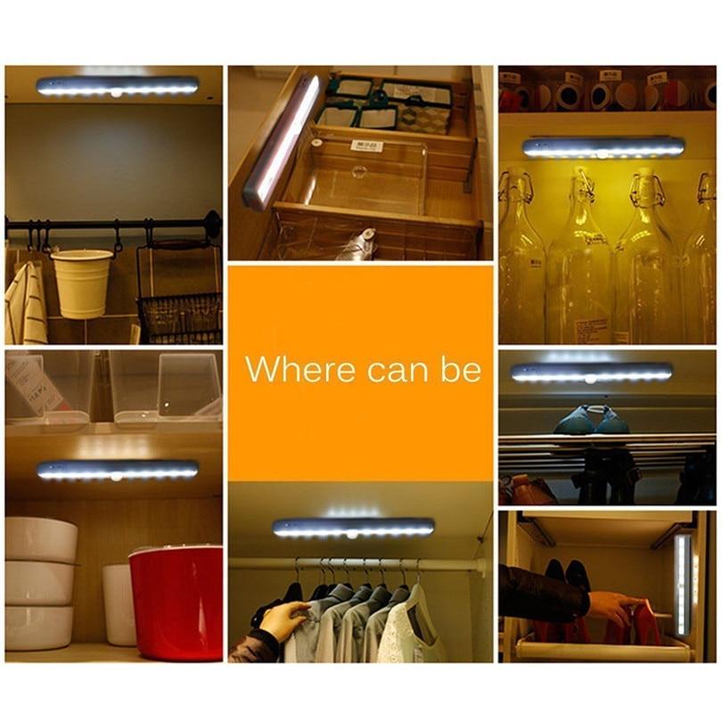 1pc LED Cabinet Closet Light PIR Motion Sensor Lamp Led Bulbs White Bright Under Cabinet Lights High Quality new #3J01 (4)