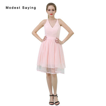 Wholesale Elegant Pink A-Line Mini Lace Bridesmaid Dress 2017 Zipper Up Formal Girls Short Maid of Honor Party Prom Gown B060