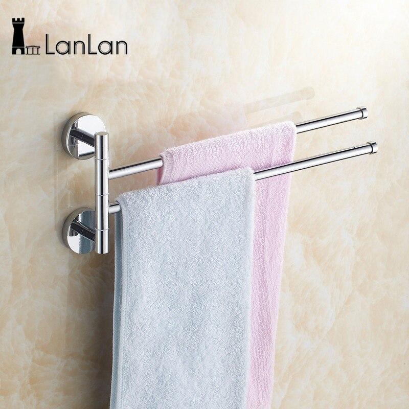 LanLan acero inoxidable de montaje en pared oscilante barra 2-Bar brazo plegable percha giratoria toalla suspensión titular organizador-30