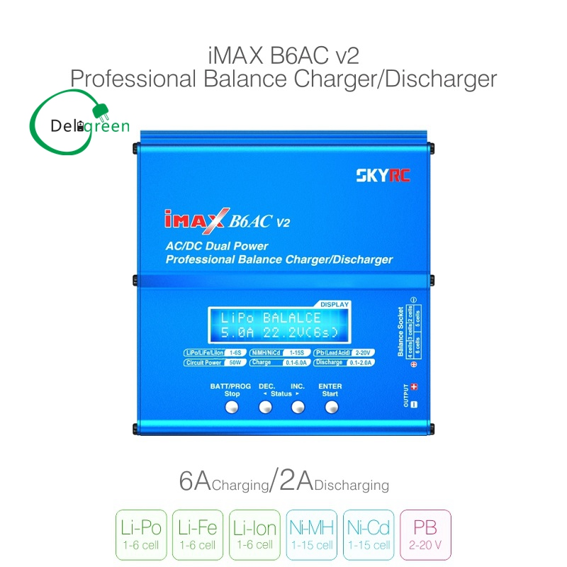 SKYRC IMAX B6AC Charger 50W Lipo Battery Balance RC Discharger Helicopter Quadcopter With Power Adapter100% Original ocday 1set imax b6 lipo nimh li ion ni cd rc battery balance digital charger discharger new sale