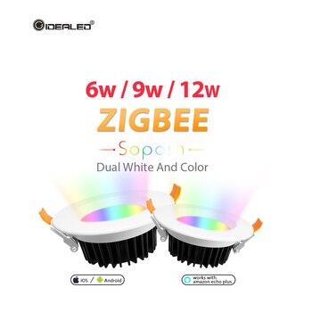 Светодиодная RGB Лампочка zll с регулируемой яркостью ZIGBEE ZLL smart 6 Вт/9 Вт/12 Вт светодиодный RGB + CCT вниз свет с Amazon plus AC100-240V двойной белый >> GIDEALED Official Store