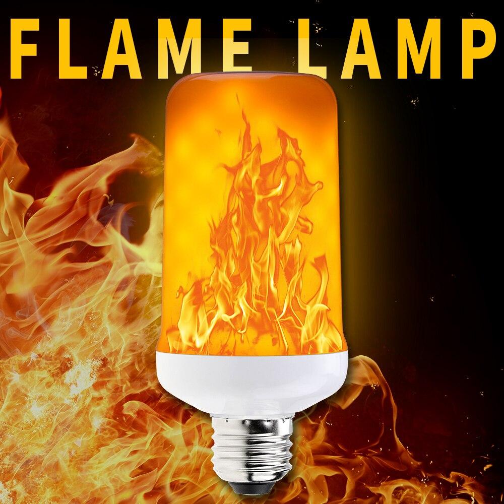 2pcs E27 LED Flame Effect Light Bulb 2 Modes E14 LED Fire Light E26 5W Dynamic Flickering Emulation Flame Lamp AC85 265V SMD2835 in LED Bulbs Tubes from Lights Lighting