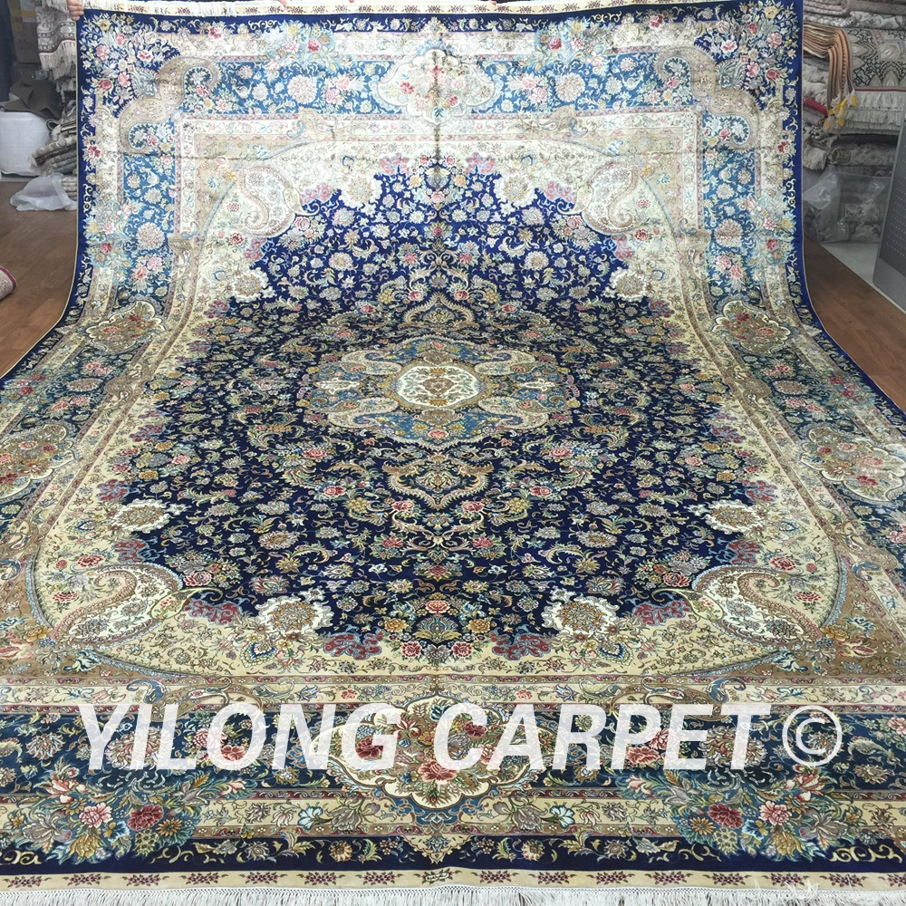Yilong 10u0027x14u0027 Traditional Area Rug Persian Large Size Turkish Silk  Handmade Carpet For Sale (SL125A10x14)