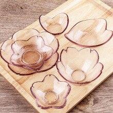 Японский стиль розовое стекло вкус блюдо вишневые цветы или пластина в форме сердца посуда блюдце кухня обеденная закуски маленькое блюдо