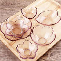 Japanese Style Pink Glass Flavor Dish Cherry Blossoms or Heart Shape Plate Tableware Saucer Kitchen Dining Snack Small Dish