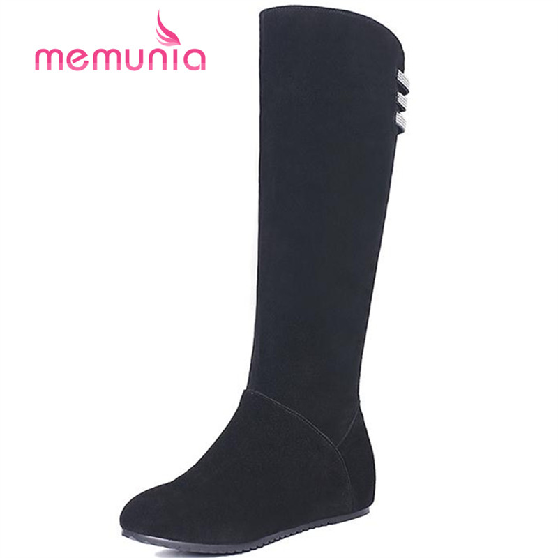 ФОТО MEMUNIA Top quality knee high boots women height increasing long boots autumn winter flock cowhide leather boots