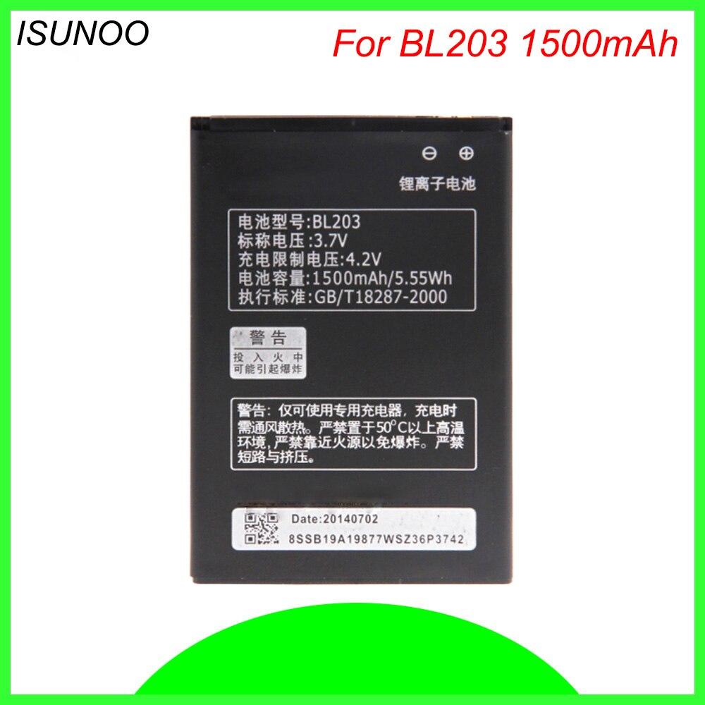 ISUNOO 3.7V 1500mAh BL203 BL 203 BL-203 Battery for Lenovo A278T A369 A365E A308T A66 A318T A385E phone battery