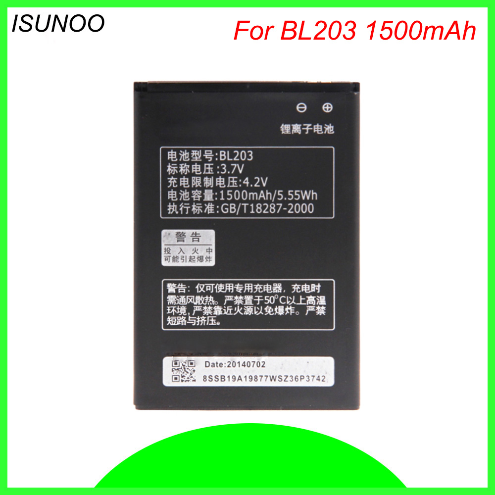 ISUNOO 3.7V 1500mAh BL203 BL 203 BL-203 Battery for Lenovo A278T A369 A365E A308T A66 A318T A385E phone battery image