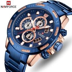 NAVIFORCE Marca Top Dos Homens Do Cronógrafo Relógio Do Esporte Dos Homens Casual Relógios de Quartzo Moda de Luxo em Ouro Rosa Azul relógio de Pulso À Prova D' Água