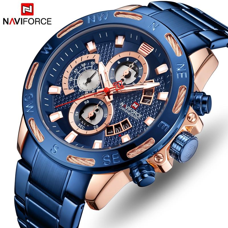 NAVIFORCE Top Brand Men Chronograph Watch Mens Casual Sport Quartz Watches Fashion Luxury Rose Gold Blue Waterproof Wristwatch