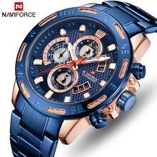 NAVIFORCE أعلى العلامة التجارية الرجال ساعة كرونوغراف رجالي ساعات رياضية كوارتز الأزياء الفاخرة روز الذهب الأزرق للماء ساعة اليد