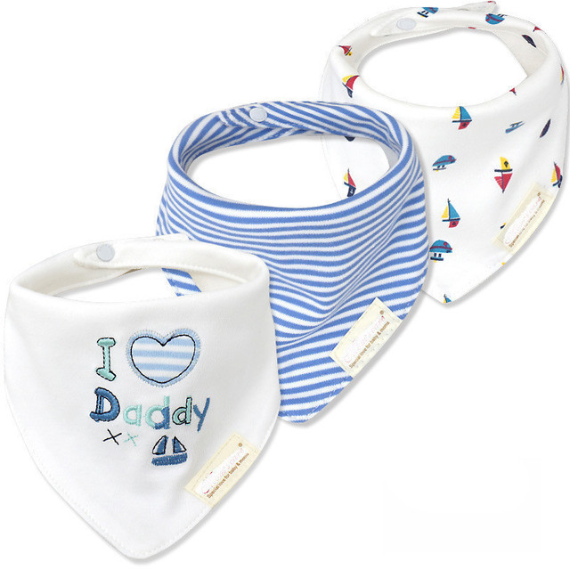 3pcs/lot 100% Cotton High Quality Babadores Baby Bibs Bandana Lot Para Bebe Infant Saliva Towel for Boys and Girls