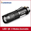 Ultra Bright Top Quality CREE Q5 LED Flashlight 3 Modes 2000 Lumens Zoomable Waterproof Adjustable LED Torch Free Shipping