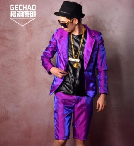 S-5XL 2018 New Nightclub Men's Fashion singer DS DJ Purple dazzle silk quality suit set Star style plus size bar stage costumes