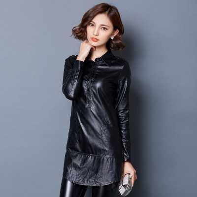 autumnwinter women fashion pu leather velvet shirt korean