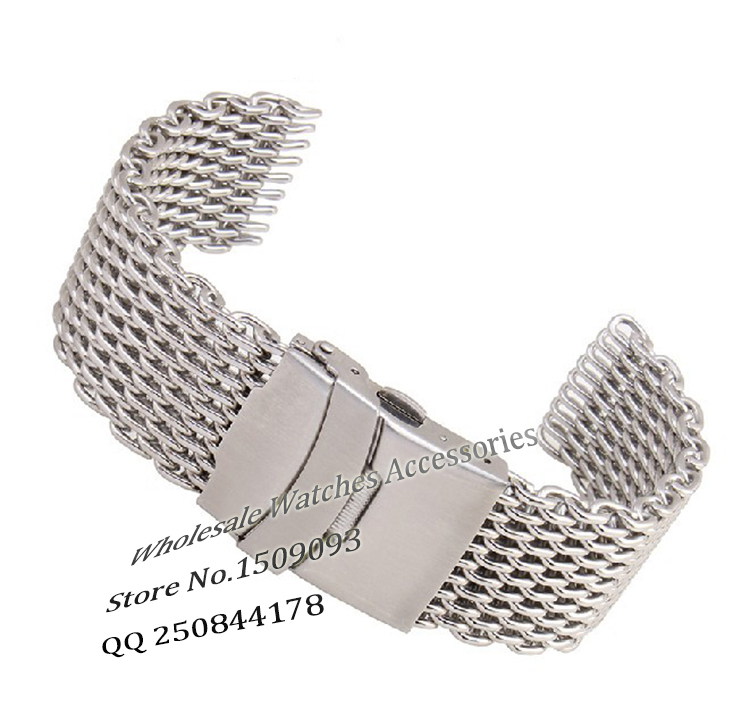 Promotion Shark Mesh Watchbands strap Bracelet Folding buckle deployment 20mm 22mm 24mm Fashion watch accessories fast delivery folding buckle watchbands men shigh quality design straps 24mm leather smooth watch band with silver deployment clasp promotion