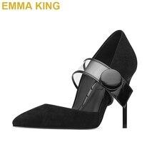EMMA KING/модные туфли-лодочки mary jane; женская обувь; прозрачная Пряжка из ПВХ; шпильки 10 см 12 см; женские летние туфли для вечеринок