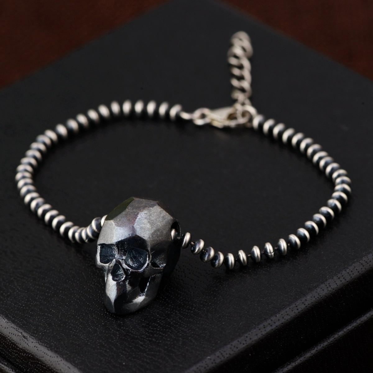 Bracelets & Bangles 925 Sterling Silver Skeleton Skull Head Beads Chain Bracelets For Men Women Thai Silver Vintage Punk Rock thai silver bracelets