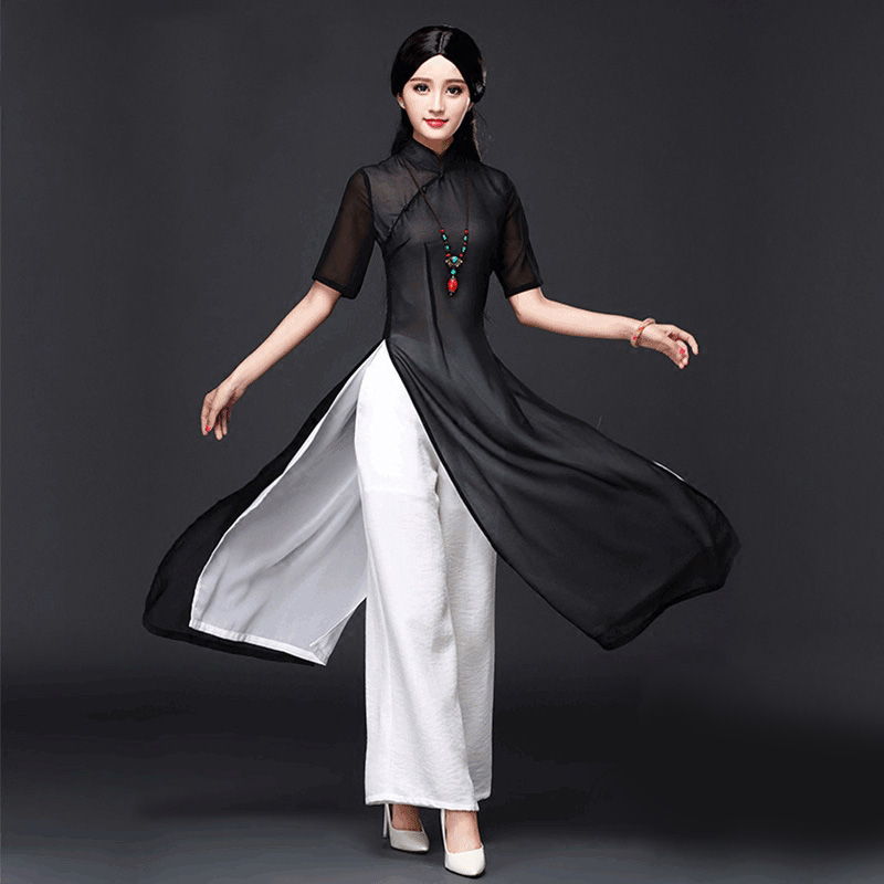 2019 Vietnam Ao Dai Qipao Traditional Dress Qipao Cheongsam Dresses Cotton Linen Set Top+pants Chinoise Aodai Pieces Suit