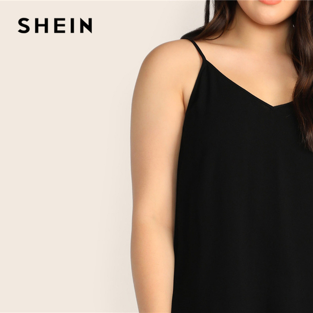 SHEIN Plus Size Black Solid V-Back Cami Top 2019 Women Summer Casual Spaghetti Strap Regular Basic Big Size Camisole Tops 4
