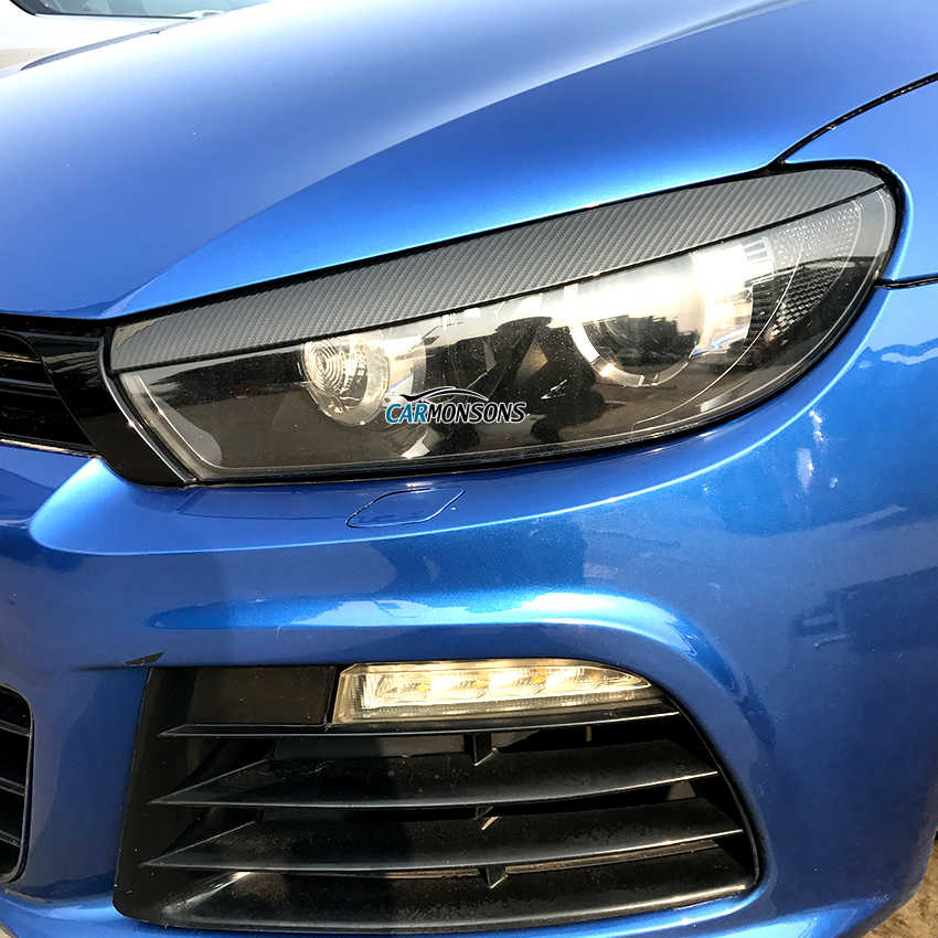 Carmonsons Headlight Eyebrow Eyelids Stickers Trim Cover for Volkswagen Scirocco R GTS 2008-2017 Accessories Car Styling