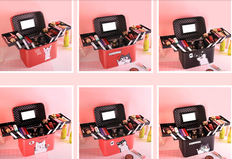 New 2018 Women Professional Makeup Cases PU Leather Make Up Box Big Capacity Cosmetic Bags Cases Quality Organizer Beauty Bags fashion cosmetic bags high quality patent leather make up bags ladies cosmetic cases organizer bags cute cosmetic bag
