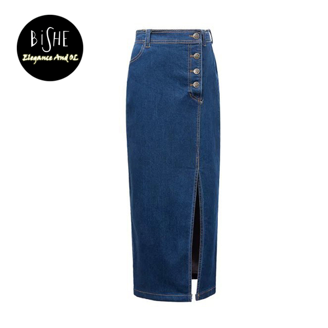 9fc2fd80c96 BiSHE Women S Maxi Pencil Jean Skirt- High Waisted A-Line Long Denim Skirts  For