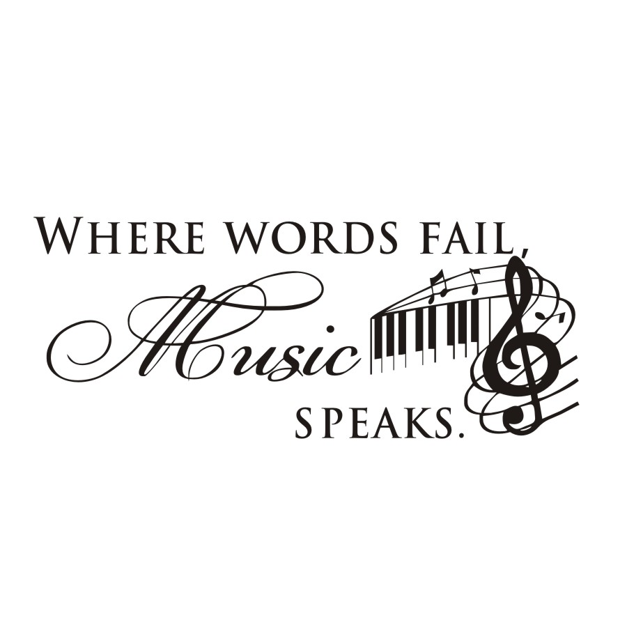 US $5.7 35% OFF|Diy Where Words Fail Music Speaks Wall Sticker Quotes  Musical Notes Removable Art Vinyl Decal For Kids Room Home Decor  Stickers-in ...