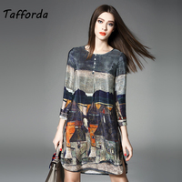 Tafforda 2018 100 Real Silk Dress High Quality Women Summer Autumn Vintage Printing A Line Plus