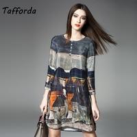 Tafforda 2018 Women S Silk Dress High Quality Women Summer Autumn Vintage Printing A Line Plus