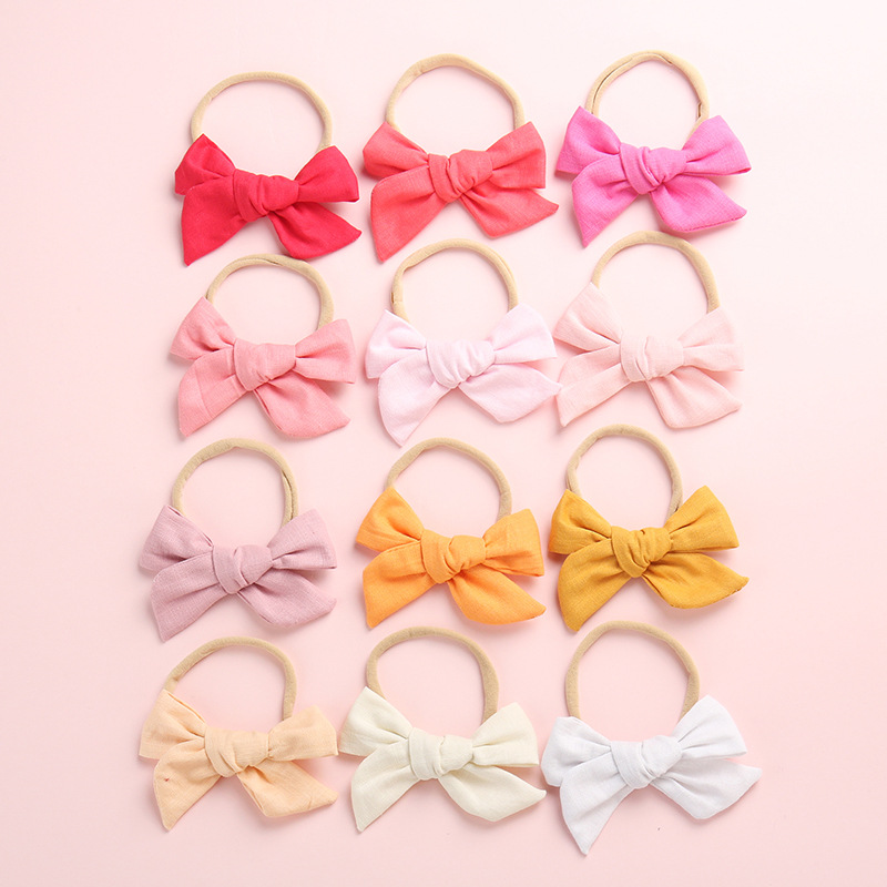 Big Bow Baby Headband 1PC Cotton Linen Bowknot Headband Baby Kids Head Accessories Baby Solid Bow Hairband Blue Pink Red White