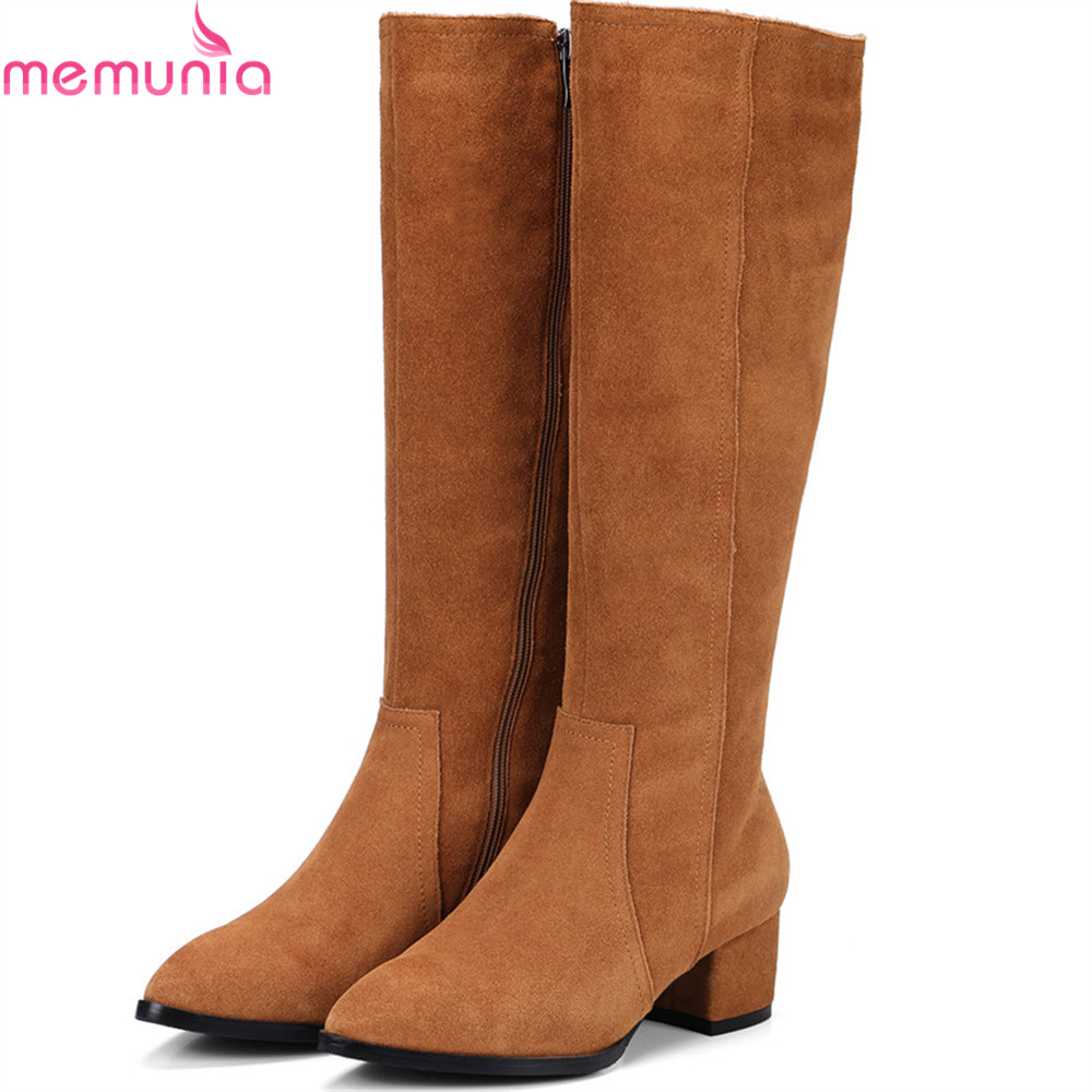 MEMUNIA fashion autumn winter new women boots pointed toe cow suede ladies boots leather zipper square heel knee high boots цена