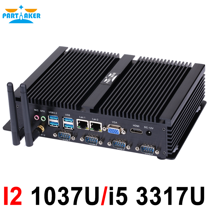 Fanless Mini PC Windows XP/7/8/10 Intel Core I5 3317U 1007U 2*Lans 4*RS232 COM Industrial PC Rugged Computer 300M WiFi HDMI+VGA