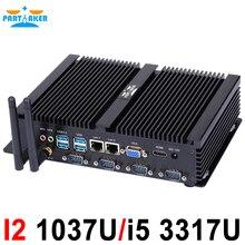 Fanless מיני מחשב תעשייתי מחשב עם USB 3.0 4 * COM HDMI Intel Celeron C1037U C1007U Core i5 3317U Windows 10 לינוקס