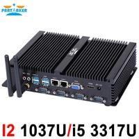 Fanless mini pc industrial computer with USB 3.0 4*COM HDMI Intel Celeron C1037U C1007U Core i5 3317U Windows 10 Linux