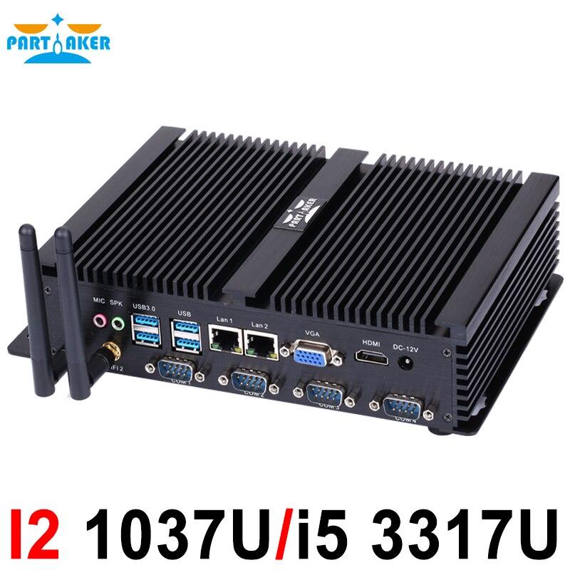 fanless pc industrial com usb 3.0 dual gigabit lan 4 com hdmi inicialização automática intel celeron c1037u 1.8g 4g ram 16g ssd windows e linux