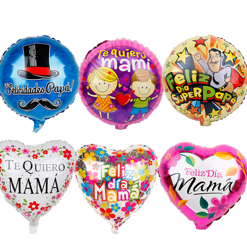 18inch Spanish Happy Father Mother's Day Foil Balloons 5pc Feliz Dia Mama Super Papa Helium Globos Party Decoration Gift Baloes