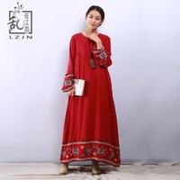 LZJN Red Maxi Bohemian Dress Long Sleeve Women 2019 Spring Autumn Cotton Robe Femme A Line Romantic Dress with Flower Embroidery