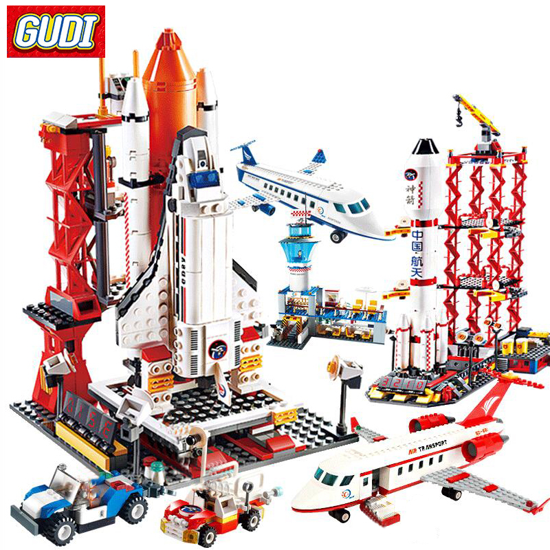 Airplane Figures Building Blocks Spaceport Space Shuttle Blocks City DIY Bricks Educational Classic Toys For Children Gift
