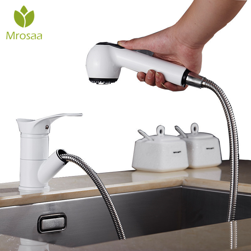 1Pc 360 Swivel Spout Pull Out Kitchen Faucet Chrome Basin Hot and Cold Water Mixer Taps Bathroom Single Handle Sink Basin Faucet e pak brand new concept pull out chrome single handle kitchen and bathroom sink faucet lj92359