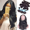 Brazilian Body Wave With Closure 360 Lace Frontal With Bundles Human Hair With Closure 360 Lace Frontal With Bundle Pre Plucked