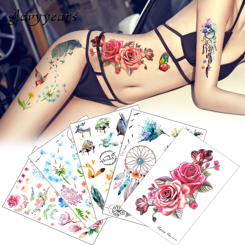 Flower Bird Decal 1pc Fake Women Men DIY Henna Body Art Tattoo Design HB556 Butterfly Tree Branch Vivid Temporary Tattoo Sticker chic simple design branch pattern body chain for women