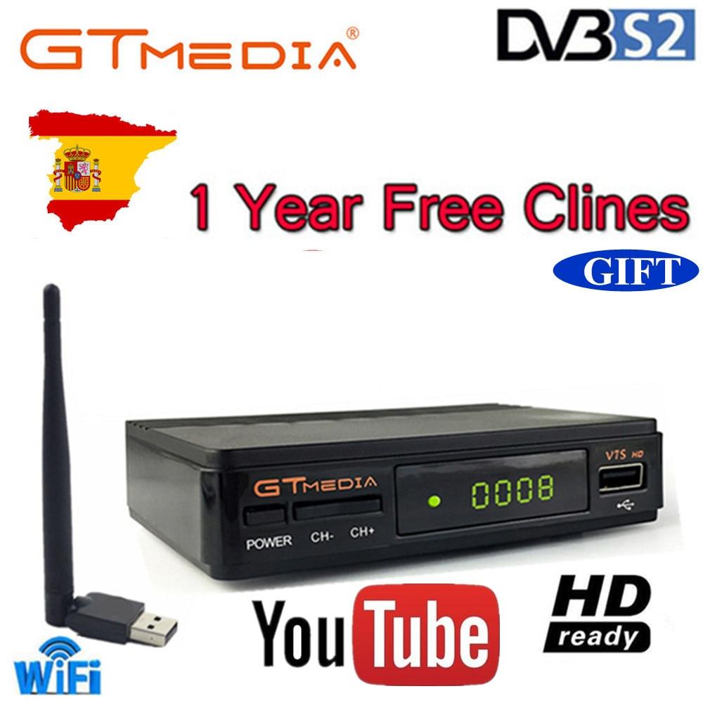 Freesat V7s HD CCcam Récepteur Satellite + 1 An Europe Espagne CCcam 7 Clines Serveur + 1 USB WIFI Dispositif DVB-S2 Satellite Récepteur HD