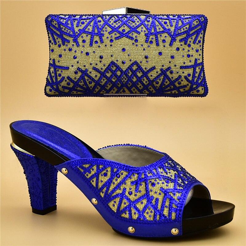 Assortis Sac De Mariage Et or bleu Strass Dames argent Femmes vert pourpre Couleur Nouvelle Pourpre Chaussures Ensemble Noir Nigérian Avec Décoré Les rouge Arrivée Sacs H8CHqwTp6Z