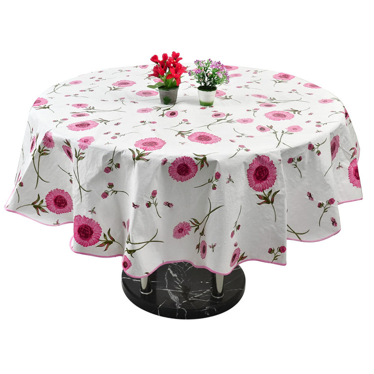 Table Cloth Cover Home Picnic Round Flower Pattern Water Resistant  Oil Proof Tablecloth 60 Inch